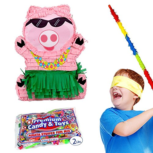Pinatas Hawaiian Luau Pig Party Kit - Includes, 2lb Filler, Buster Stick and Bandana -