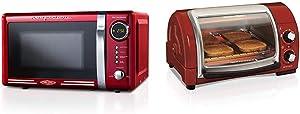 Nostalgia RMO7RR Retro 0.7 cu ft 700-Watt Countertop Microwave Oven & Hamilton Beach Easy Reach Countertop Toaster Oven, 4-Slices, Red (31337D)