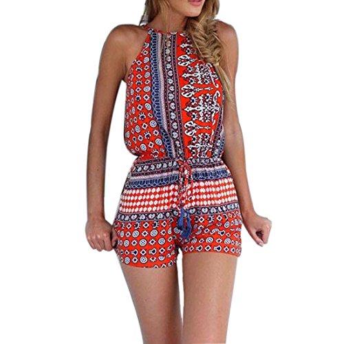 Bestpriceam® Women Romper Sexy Jumpsuit Casual Sleeveless Summer Beach Jumpsuits (XL, Red)