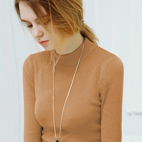 Camel Female Jacket Shirt Match Half All Female Female High Tight Sleeve Head Long Sweater Bottoming Xuanku Sweater Necked Winter Slim UEnwxSqHSf