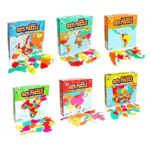GeoToys - Set of 6 GeoPuzzles in Individual Boxes - Educational Kid Toys for Boys and Girls, 50+ Piece Geography Jigsaw Puzzles, Jumbo Size Kids Puzzles - Ages 4 and up (Map Of Europe And Asia With Capitals)