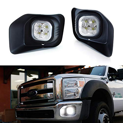 iJDMTOY LED Fog/Driving Light Kit For 2011-2016 Ford F250 F350 F450 Super Duty, Includes (2) 40W High Power LED Fog Lamps, Foglight Bezels & Relay Wiring On/Off Switch ()