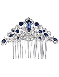 Ever Faith Art Deco Vine Bride Hair Comb Cream Simulated Pearl Clear Austrian Crystal