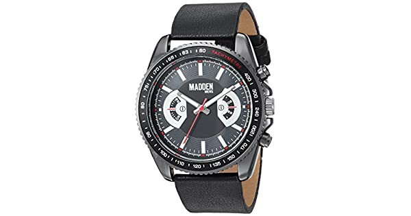 Steel Steve And Dress Quartz Leather Watch Madden Men's Stainless rCsxthQd
