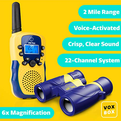USA Toyz Kids Walkie Talkies with Binoculars - Vox Box Voice Activated Long Range Walkie Talkie Set w/ Binoculars for Kids, Outdoor Toys for Boys or Girls by USA Toyz (Image #1)