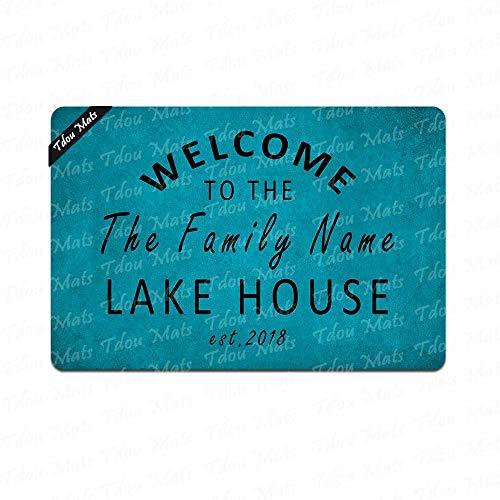 Cindy&Anne Welcome to The Lake House Family Name/Text Custom Personalized Doormat Entrance Floor Mat Funny Doormat Door Mat Decorative Indoor Outdoor Doormat 23.6 15.7 inch