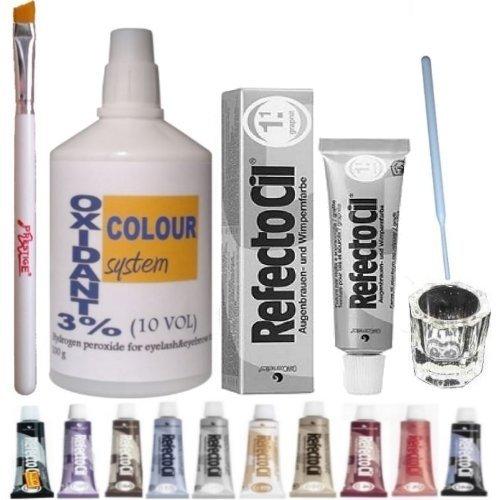 Eyelash Eyebrow Tint Dye Kit: Refectocil tint, glass dish, eyebrow brush, 100ml oxidant 3% (No 1.1 Graphite) by KITLAS - For Tints Glasses