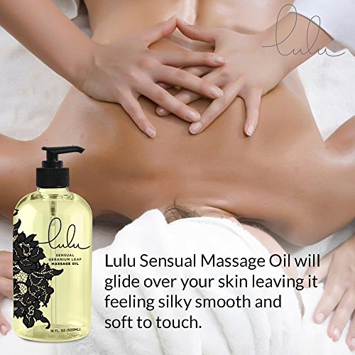 Lulu Sensual Massage Oil 16oz. For Luxurious Relaxing Body Massages. Scented with Premium Natural Aromatherapy Essential & Sweet Almond Oils. USA Made