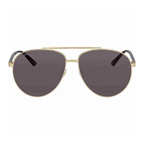 4dd4382364 Amazon.com  Gucci GG 0043SA 001 Asian Fit Silver Metal Aviator Sunglasses  Blue Mirror Lens  Clothing