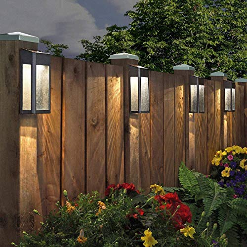 Garden & Outdoors Deuba 4X Solar Fence Lights LED Wall Waterproof Wireless Outdoor Garden Yard Patio Stairway Gate Bright Security Lamps Outdoor Lighting