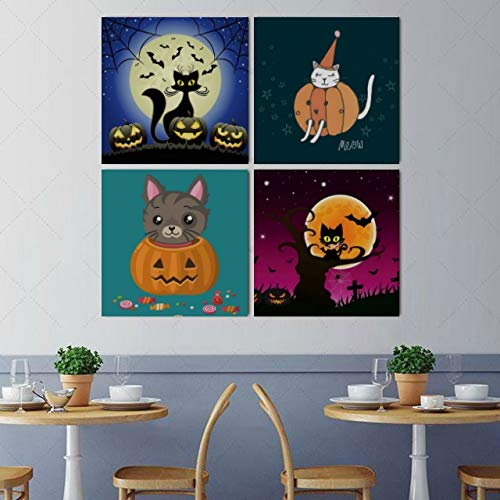 Wall Art Painting Picture Halloween Evil Cat with