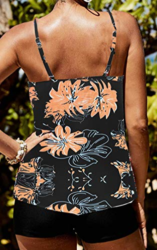 CIZITZZ Women\'s 2 Piece Swimsuits High Neck Halter Printed Tankini Sets Tummy Control Bathing Suit,Black Floral,S