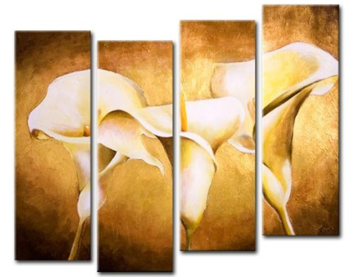 Sangu 100% Hand Painted Wood Framed Floral Flowers Home Decoration Modern Oil Paintings Gift on Canvas 4-piece Art Wall Decor