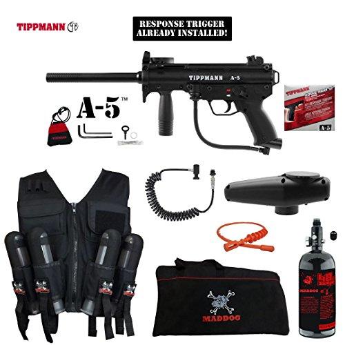 (MAddog Tippmann A5 A-5 w/Response Trigger Lieutenant HPA Sport Vest Paintball Gun Package - Black)