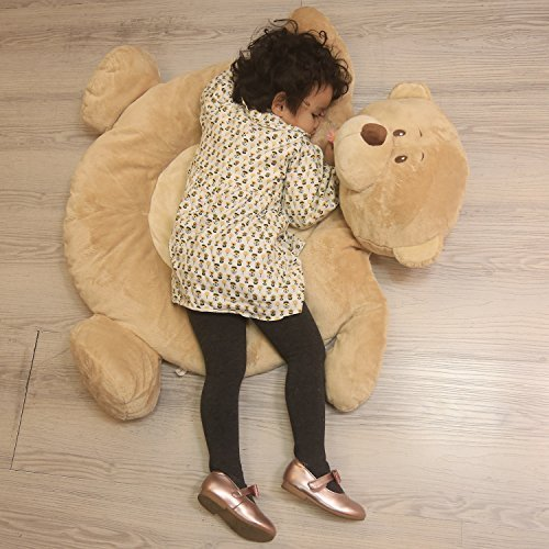 Naptime Rug - Plush Bear PlayMat Teddy Bear Crawling Carpet Stuffed Animals Playmat 35 Inches Brown By HollyHOME