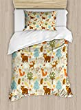 Lunarable Woodland Duvet Cover Set Twin Size, Animals of The Woods in Pastel Colors Cheerful Bear Hedgehog Gazelle Fox Ladybug, Decorative 2 Piece Bedding Set with 1 Pillow Sham, Multicolor