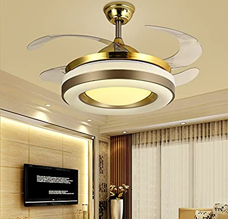7PM Retractable Ceiling Fans 42 Inch Invisible Chandelier Fan with ...