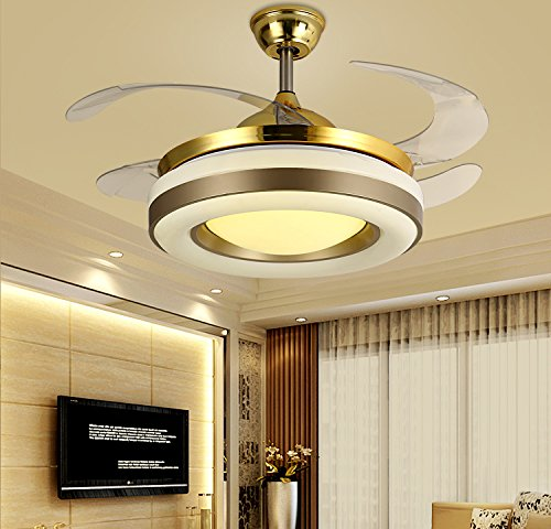 Yue Jia 42 Inch Promoting Natural Ventilation Invisible Fan Modern Luxury Dimmable (Warm/Daylight/Cool White) Chandelier Foldable Ceiling Fans With Lights Ceiling Fan for Room with Remote Control by YUEJIA (Image #1)