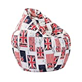 Blesiya Bean Bag Chair Cover - Furniture Bags Large Lounger Sofa Slipcover - Water Resistant Home Toys Clothes Pillow Storage Bag - UK Flag