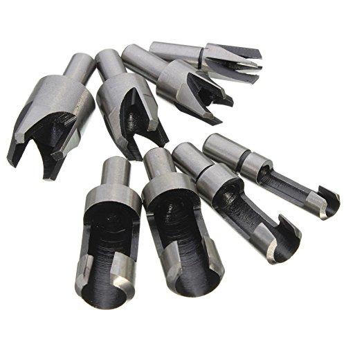 8PCS Wood Plug Cutter Cutting Tool Drill Bit Set Straight and Tapered Taper 5/8 1/2 3/8 1/4 Woodworking Cork Drill Bit Knife (HKD03)