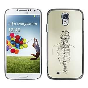 Paccase / SLIM PC / Aliminium Casa Carcasa Funda Case Cover - Skeleton Spine Art Black White Pencil Drawing - Samsung Galaxy S4 I9500