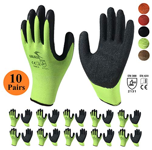 (Nitrile Latex Rubber Coated Safety Work Gloves, Nylon Knit, Textured Palm Grip ( 10 Pair Pack, Green/Black, size large fits most ))