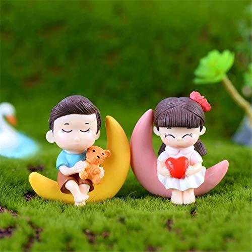 (Gotian Moon Couple Romantic Figurines DIY Craft Decorative Ornaments Figurines Miniatures for Home Table Decoration)