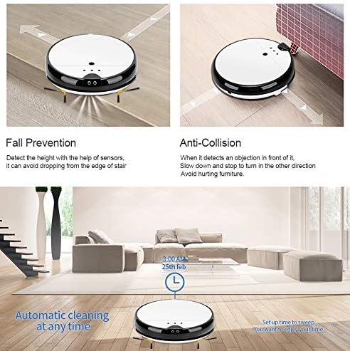 Aspirateur Domestique Automaticle Smart Robot Aspirateur Wet and Dry, Smart Self-Charging Robotic Aspirators, Good for Pet Hair Hardwood Floor Floor Carpet Tile