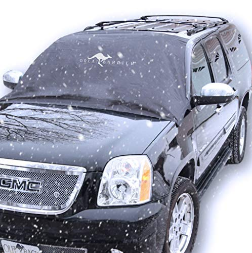 GREAT BARRIER Snow Windshield Cover Ice Protector - Strong Magnetic Ice Frost and Snow Window Cover for Winter - Heavy Duty Full Protection Covers to Fit Car, Truck, SUV and Van