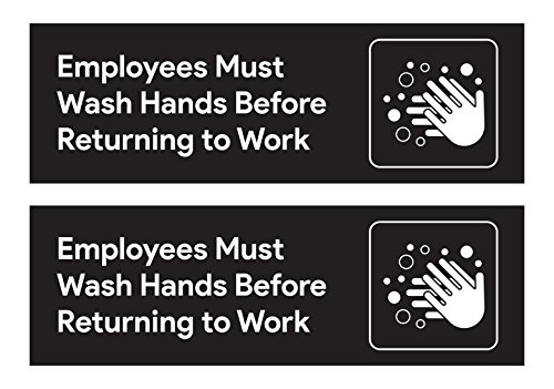 Employees Must Wash Hands Restroom Stickers (Pack of 2) - 8.75 inches by 2.5 inches | For Restaurants, Retail Stores, Salons, Hotels and Motels, Gas Stations, Rest Stops, and Other Public (Restroom Cleaning Kit)