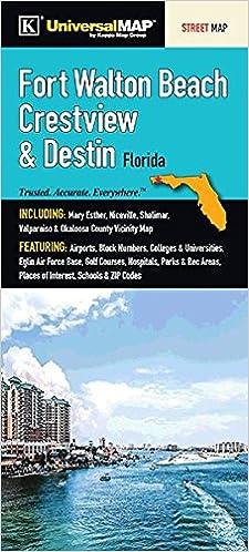 Map Destin Florida.Fort Walton Beach Crestview Destin Florida Fold Map Universal
