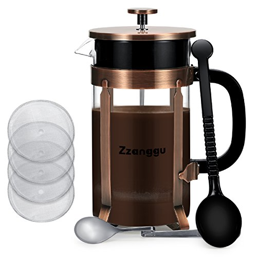 Zzanggu French Press Coffee Maker Tea Pot with Heat Retention Double Wall Stainless Steel Filter and Durable Glass (34oz, 1L), Bronze