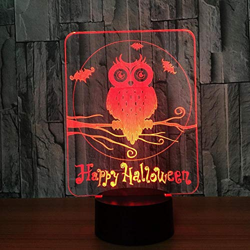 Happy Halloween Owl 3D LED Lamp 7 Colors Visual Led Night Lights for Kids Touch USB Table Lampara Lampe 3D Night Light, 3D Lamps 7 Color Change Visual Gift for Kids Home Decor ()