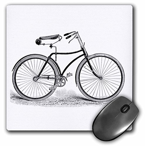 3dRose LLC 8 x 8 x 0.25 Inches Mouse Pad, Black and White Vintage Bicycle Pen and Ink Drawing Print - Old - Fashioned Cycler Cycling Bike (mp_161553_1)