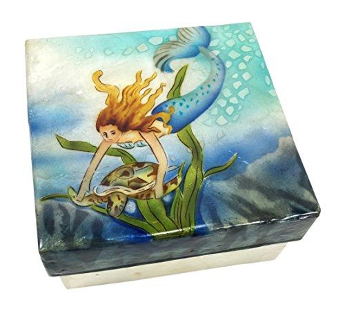 Printed Capiz Shell (Kubla Craft Mermaid with Sea Turtle Capiz Shell Keepsake Box 4 X 4)
