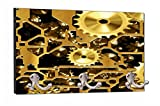 Mechanical Gold Steampunk Gears Flat Print Design - 8'' by 16'' Mountable Coat Hanger Rack Household Decoration with Three Double Silver Hooks