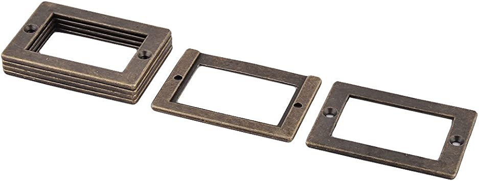 uxcell Office Library File Drawer 71x49mm Tag Frame Label Holder Bronze Tone 6 PCS