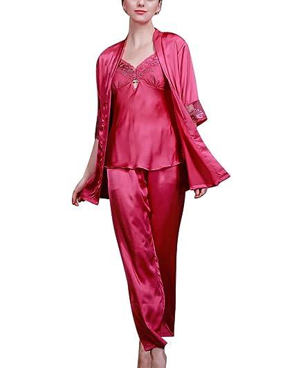 SaiDeng Mujer Albornoces Manga Corta Pijamas En Seda Bordado Batas De Casa