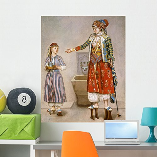 Wallmonkeys A Woman in Turkish Costume in a Hamam Instructing Her Servant by Jean-etienne Liotard Peel and Stick Wall Decals WM272487 (36 in H x 29 in W)