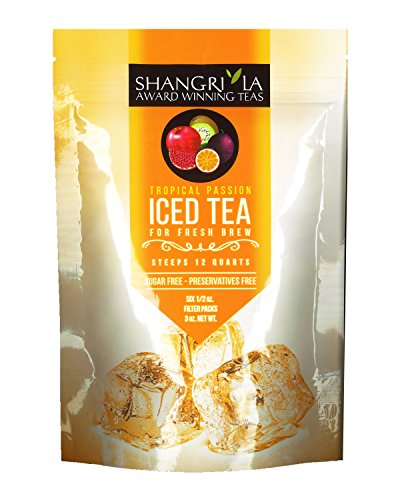 Shangri La Tea Company Iced Tea, Tropical Passion, Bag of 6, 1/2 oz Pouches