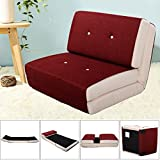 Fold Down Chair Flip Out Lounger Convertible Sleeper Bed Couch Game Dorm Red