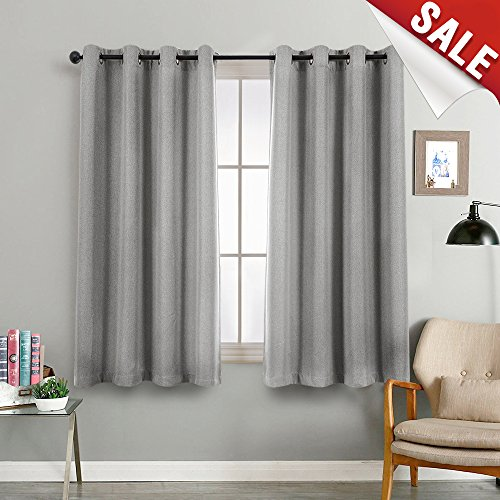 Room Darkening Window Curtain Panels for Bedroom Blackout Curtains for Living Room Linen Look Textured Drapes (Single Panel, 72, Grey)