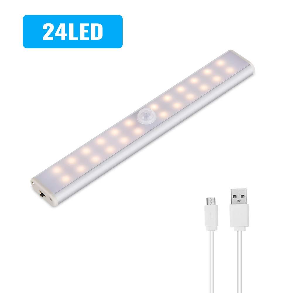 (24/40/60 LED) Luz de Armario,Lacie LED USB Recargable Automático Luces Sensor de Movimiento con Interruptor y Tira Magnética Barra,Luz Inalámbrica ...