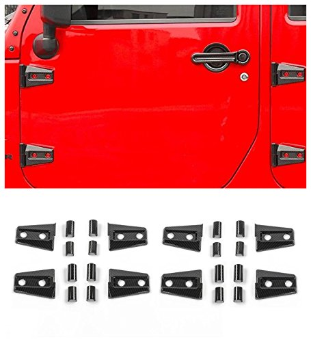 FMtoppeak 24Pcs Carbon Fiber ABS Door Trim Engine Hood Hinge Cover For 4-Door Jeep Wrangler 2007-2017