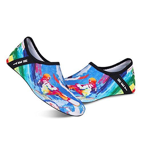 Blau03 Aquaschuhe Schwimmschuhe Schuhe Wasserschuhe Barfuß Strandschuhe für Herren Surfschuhe Damen Badeschuhe RqABwa
