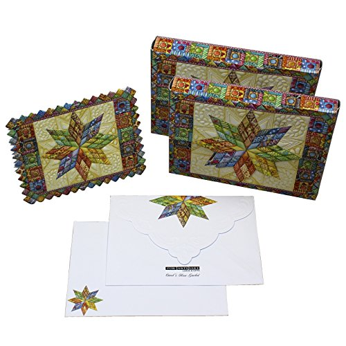 Bundle of Two (2) Lonestar Quilt Embossed Set of 10 Blank Note Cards, Envelopes, and Mini Portfolio Pouch, Designed by Carol Wilson (Two (2) Sets)