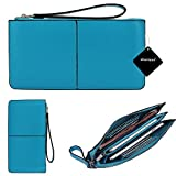 Smartphone Zipper Wristlet Wallet,xhorizon TM SR Women Soft Premium Leather Zipper Wallet Case [8 Credit Card Slots][Cash pockets] Handbag for iPhone Samsung LG [Screen not more than 6.3 inch]