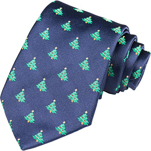 KissTies Christmas Tie Xmas Tree Blue Necktie Holiday Season Dressing + Gift - Suit For Express Men