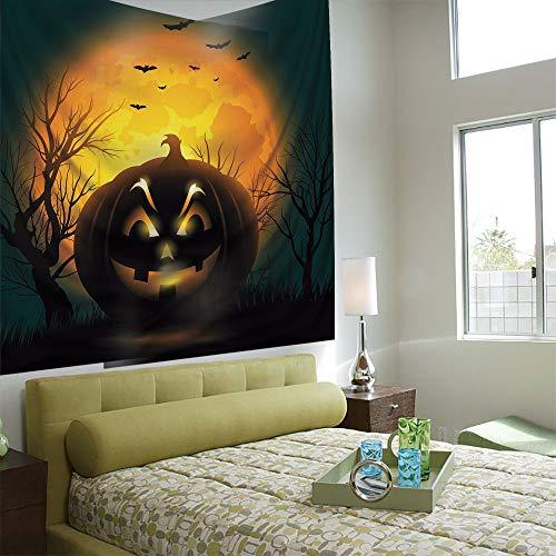 Popular Flexible Hot Tapestries Privacy Decoration,Halloween,Fierce Character Evil Face Ominous Aggressive Pumpkin Full Moon Bats Decorative,Orange Dark Brown Black -