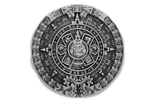 TFJ Men Women Fashion Belt Buckle Silver Metal Aztec Calendar Mayan